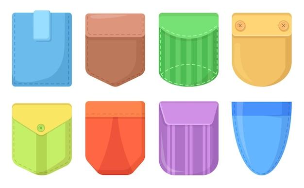 Bunte aufgesetzte taschen. süße taschenaufnäher mit nähten, jeanstaschen für kleidung und bequeme accessoires. lässige damenhemdtaschen. isolierte cartoon-illustration
