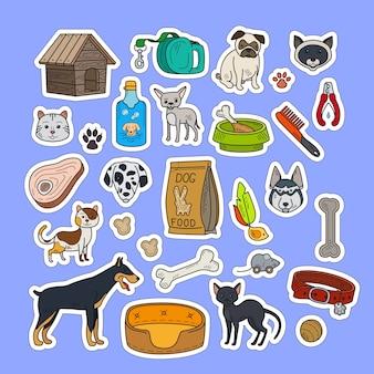 Bunte aufkleber der katzen und der hunde