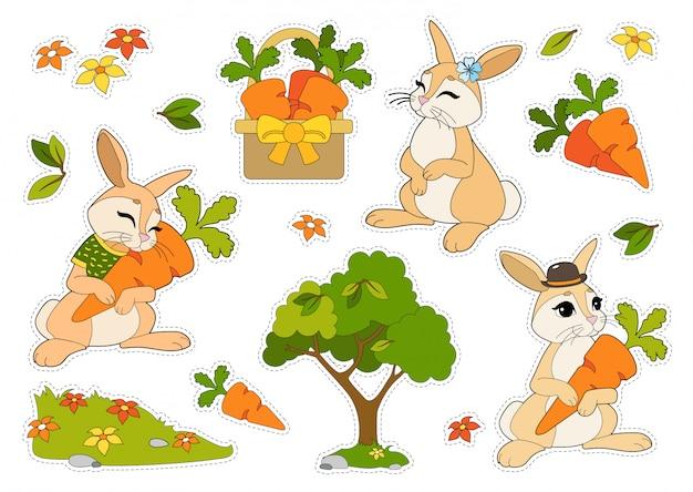 Bunte aufkleber gesetzt mit kaninchen in einem hut und t-shirt, blumen, karotten in einem korb lokalisiert auf weißem hintergrund.