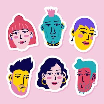 Bunte aufkleber-sammlung von avataren junger leute
