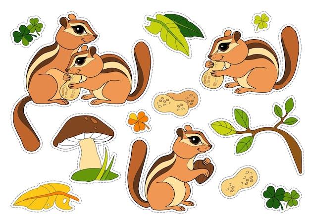 Bunte aufkleberpackung mit streifenhörnchenblättern und pilzen für kinder kinderspiel ausschneiden und kleben wildtiere vorschulkinder malbuchillustrationen und entwicklung