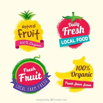 Bunte auswahl an fruchtaufklebern
