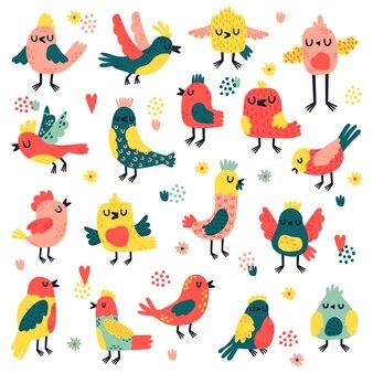 Bunte auswahl der vogelillustration