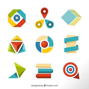Bunte auswahl von geometrischen figuren