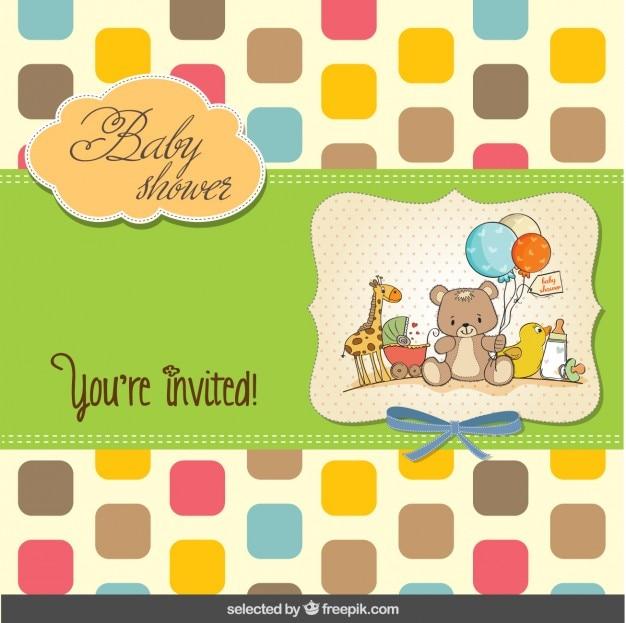 Bunte baby-dusche-karte