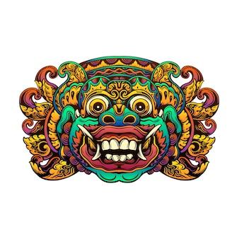 Bunte balinesische barong-maskenillustration