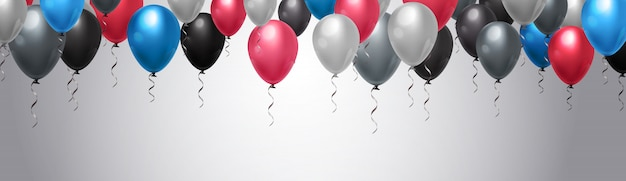 Bunte ballon-dekoration über schablonen-horizontalem hintergrund