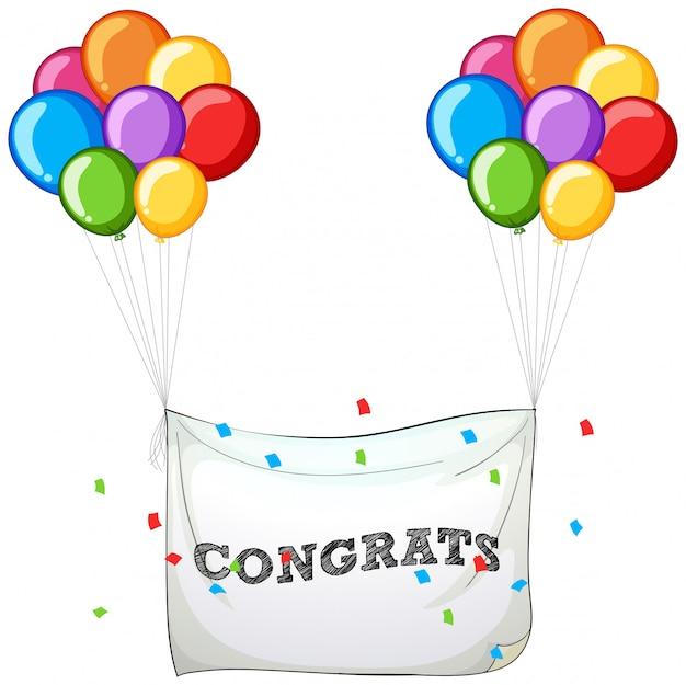 Bunte ballone mit fahne für wort congrats