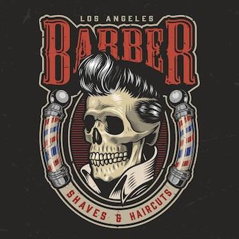 Bunte barbershop runde illustration