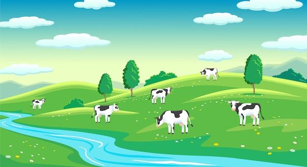 Bunte bauernhofsommerlandschaft, blauer klarer himmel mit sonne, kühe auf feld