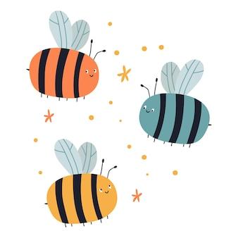 Bunte bienen der netten karikatur mit blumen
