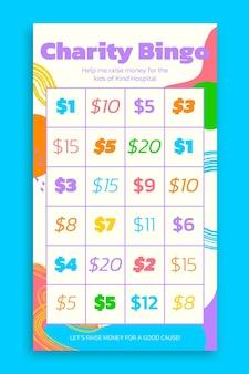 Bunte bingo-brettnummern instagram-geschichte
