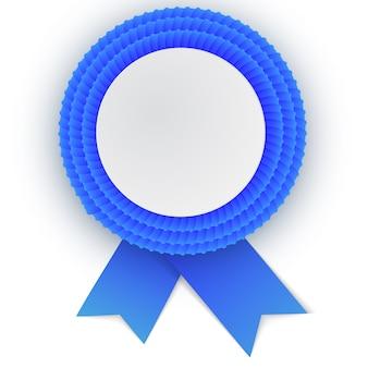 Bunte blaue rosette mit leerem papier