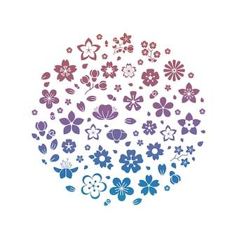 Bunte blüte blüht die lokalisierten schattenbilder