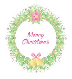 Bunte blumen, glocke und gras des blumenrahmens mit text der frohen weihnachten