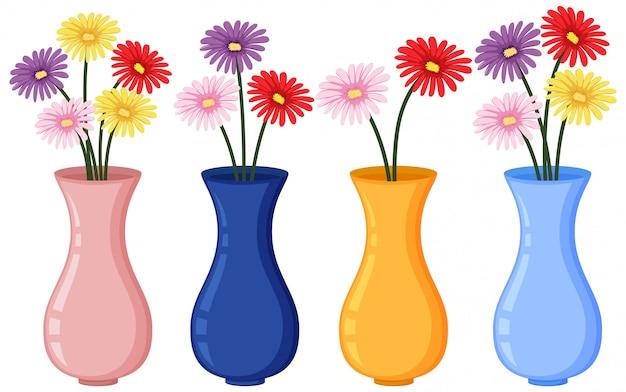 Bunte blumen in vier vasen auf weißem hintergrund