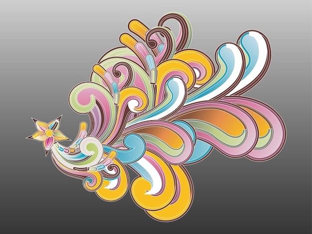 Bunte blumen locken abstrakten formen