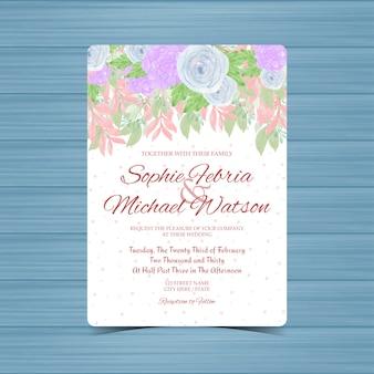 Bunte blumenhochzeitseinladung mit blauen rosen und succulent