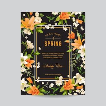 Bunte blumenrahmen der weinlese - aquarell-lilienblumen - für einladung, hochzeit, babyparty-karte
