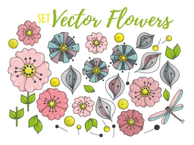 Bunte blumensammlung mit blättern und blüten