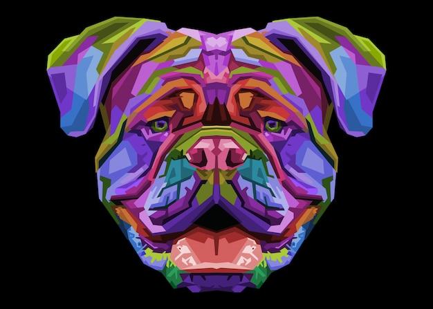 Bunte britische bulldogge auf pop-art-stil.