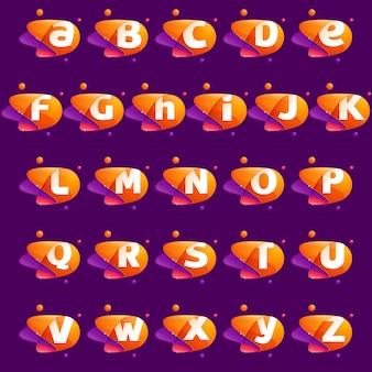 Bunte buchstaben des vollen alphabets mit umlaufbahnen der atome.