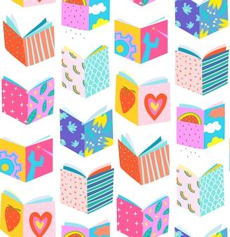 Bunte buchumschläge im papierschnittstil, nahtloses muster-pop-art-design.