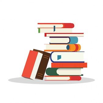 Bunte bücher eines stapels. ein von lernen, wissen und weisheit. illustration in einem flachen stil