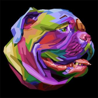 Bunte bulldogge auf pop-art-stil.