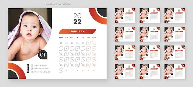 Bunte business-schreibtischkalender-designvorlage für 2022