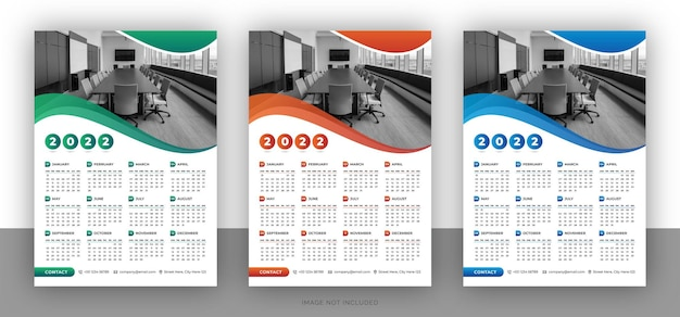 Bunte business-wandkalender-designvorlage Premium Vektoren