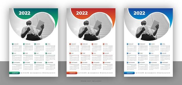 Bunte business-wandkalender-designvorlage