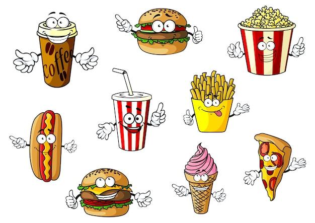 Bunte cartoon-fast-food- und imbissfiguren