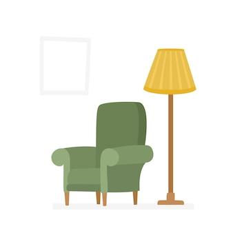 Bunte cartoon-flache vektor-illustration von grünen sesseln und fackel