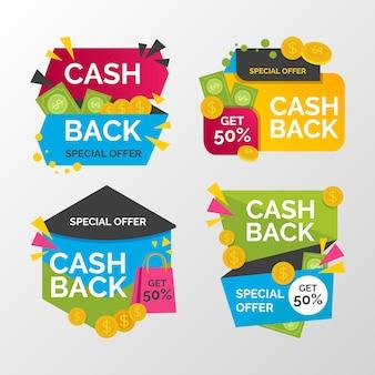 Bunte cashback-etiketten mit angebot