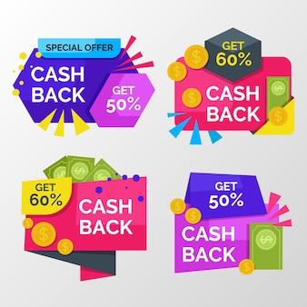 Bunte cashback-etiketten mit rabatt