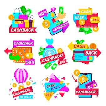 Bunte cashback-etiketten-sammlung