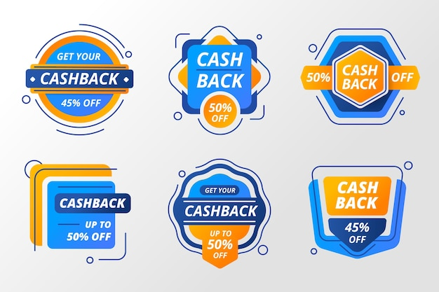 Bunte cashback-etiketten