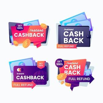 Bunte cashback-etikettensammlung