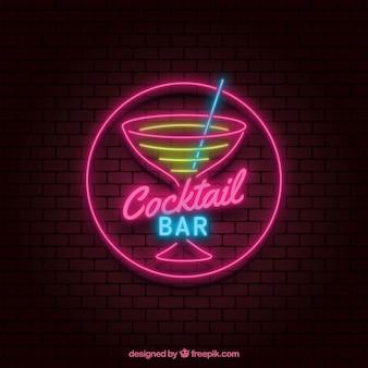 Bunte cocktail leuchtreklame