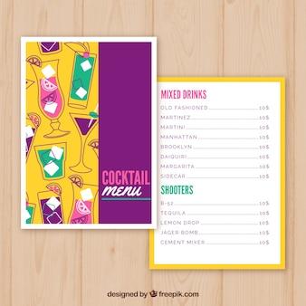 Bunte cocktailkarte
