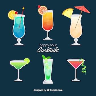 Bunte cocktailsammlung mit flachem design