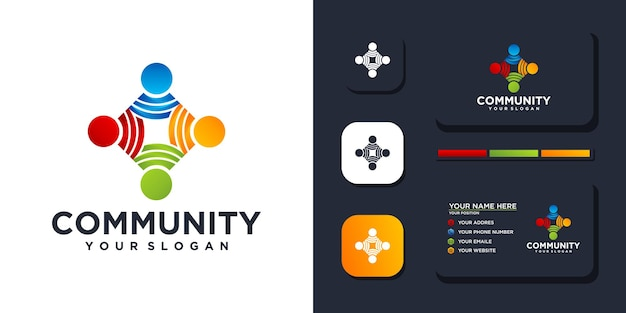 Bunte community-logo-vorlage und visitenkartenreferenz. premium-vektor