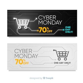 Bunte cyber-montag-fahnen mit flachem design