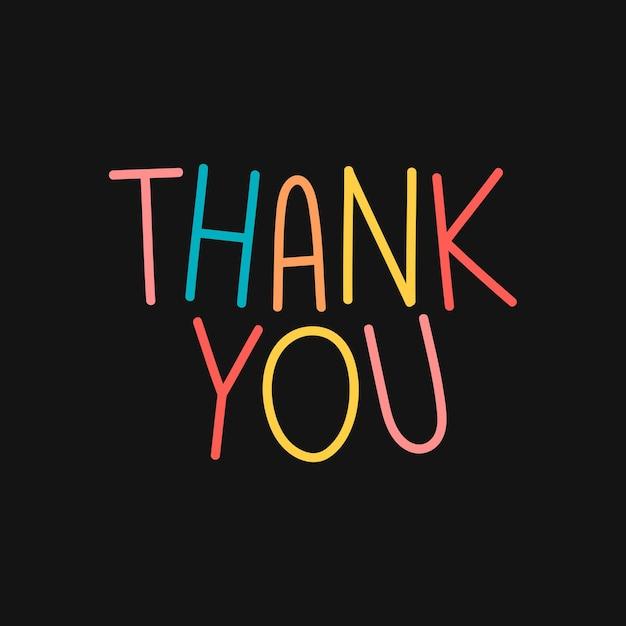 Bunte danke-typografie auf schwarzem hintergrund