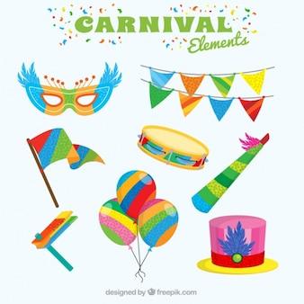 Bunte dekorative elemente für karneval