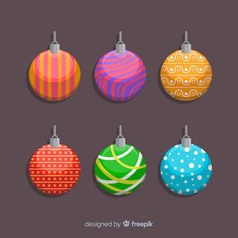 Bunte designs für flache weihnachtskugeln