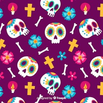 Bunte día de muertos musterkollektion mit flachem design