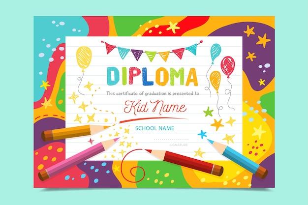 Bunte diplomschablone für kinder