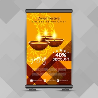 Bunte diwali-fest rollen oben fahne standdesign